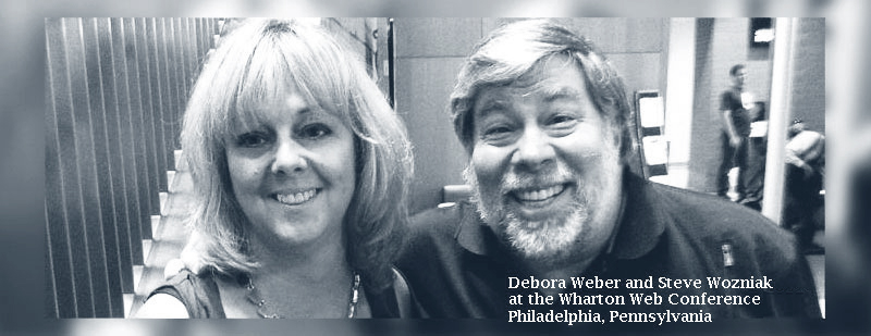 Debora Weber and Steve Wozniak at the Wharton Web Conference